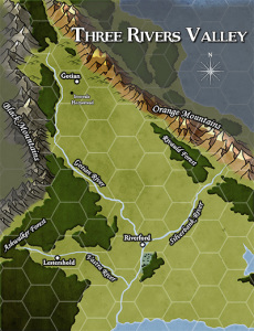 Three Rivers Valley hex map by Robert Brookes